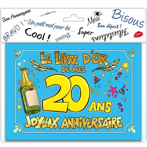 Livre dor anniversaire 20ans festif multicolore
