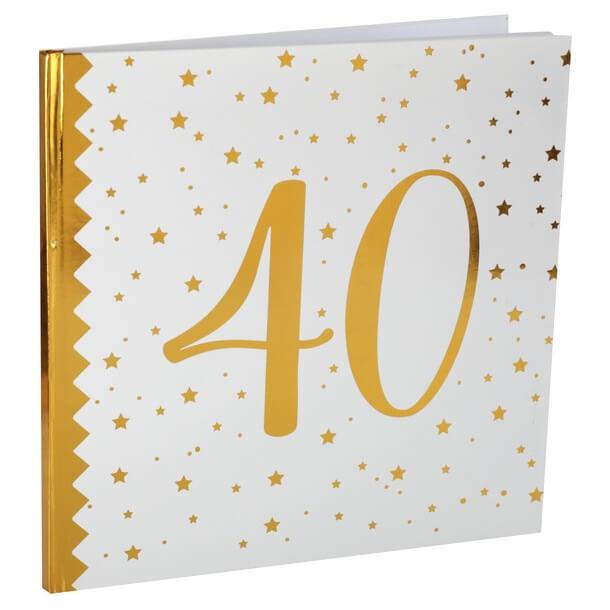 Livre dor anniversaire 40ans blanc et or