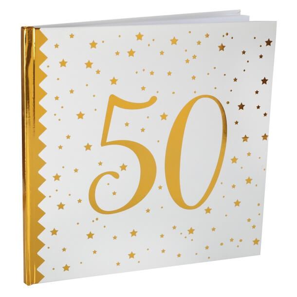 Livre dor anniversaire 50ans blanc et or
