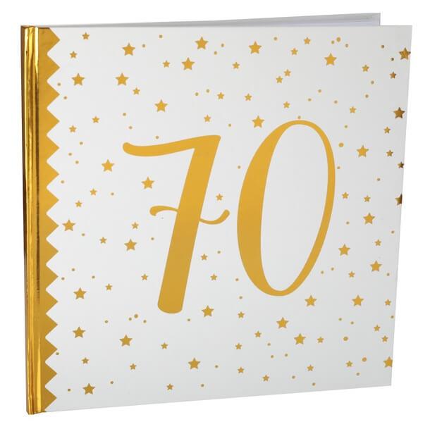 Livre dor anniversaire 70ans blanc et or