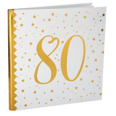 Livre d'or anniversaire blanc et or 80ans (x1) REF/6185