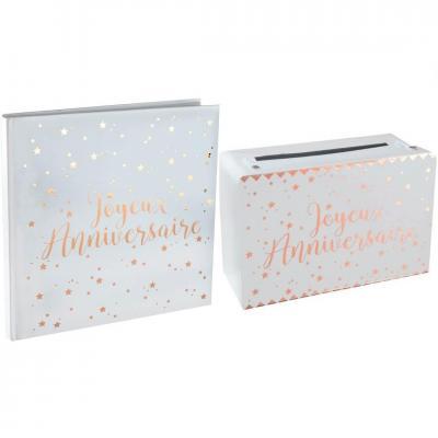 1 Pack anniversaire urne et livre d'or blanc et rose gold REF/5664-5671
