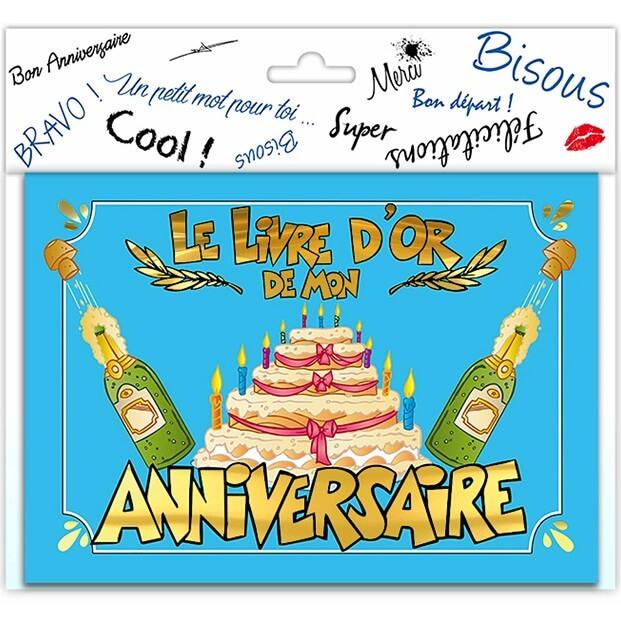 Livre dor joyeux anniversaire festif multicolore