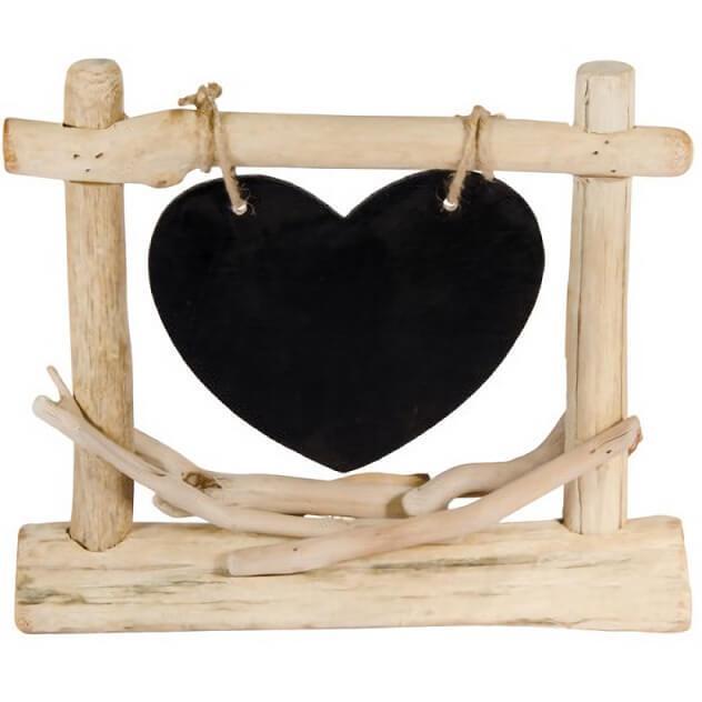 Location centre de table mariage coeur en bois et ardoise