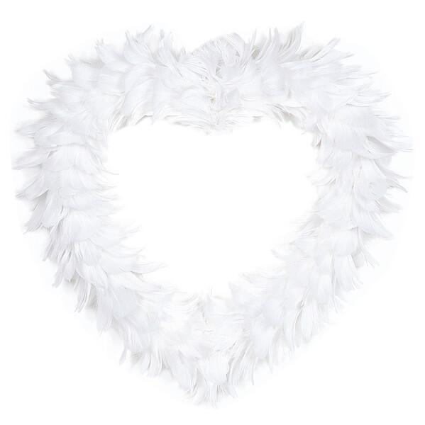 Location d un grand coeur blanc en plumes pour decoration de salle mariage