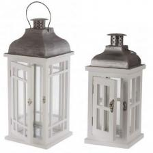 Location d'une lanterne en bois pour votre décoration festive (x2) REF/EV-341