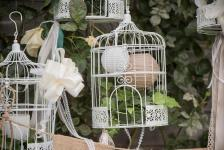 Location d'une cage dentelle blanche en métal pour décoration de fête. (x1) REF/EV-322
