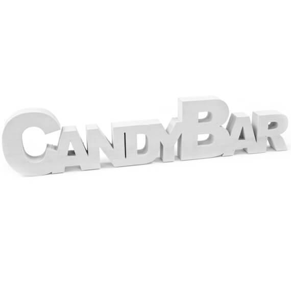 Location decoration centre de table lettre candy bar blanche