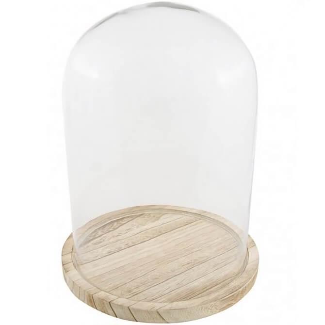 Location decoration cloche elegante en verre avec socle en bois