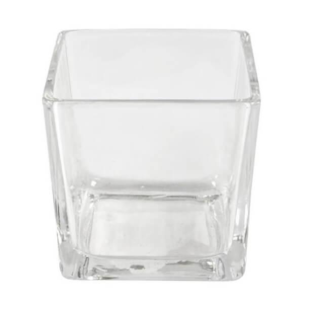 Location mariage vase carre en verre transparent