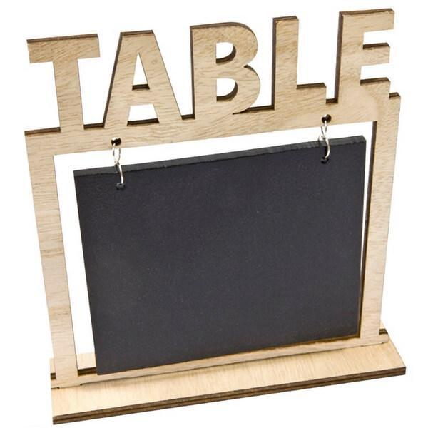 Location marque table en bois et ardoise