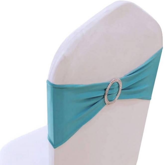 Location noeud de chaise bandeaubleu turquoise avec anneau