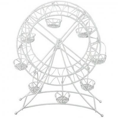 REF/EV-340 / Location d'une décoration grande roue blanche en métal (x1)