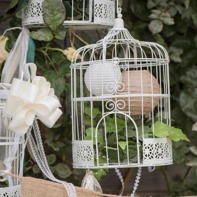 REF/EV-322 / Location d'une cage dentelle blanche en métal pour décoration de fête (x1)