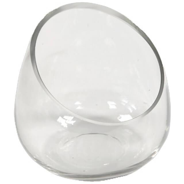Location vase transparent coupe en ouverture oblique