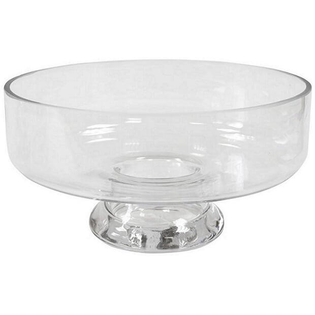 Location vase transparent coupe sur pied en verre