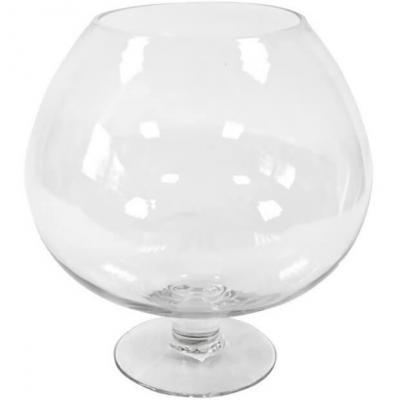REF/EV-325 / Location d'un vase élégant Cognac en verre de 24cm pour décoration (x1)