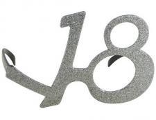 Lunette anniversaire argent pailletée 18ans (x1) REF/98118