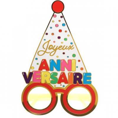 Article festif avec lunettes Joyeux Anniversaire multicolore (x1) REF/7342