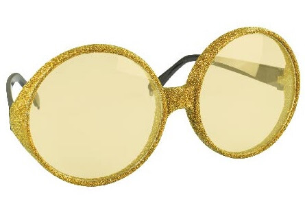 Lunette ronde pailletee or
