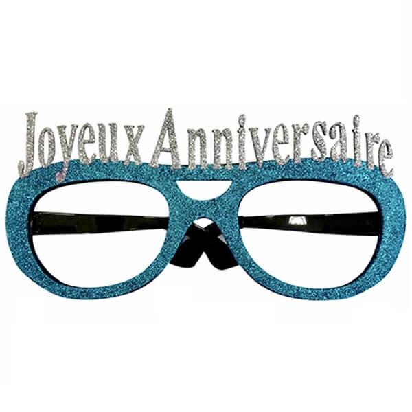 Lunettes pailletees joyeux anniversaire bleu pour cadeau de fete