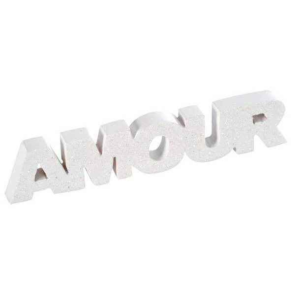 Mariage lettre pailletee amour blanche