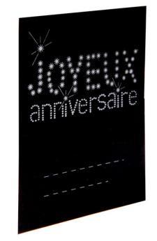 Marque-place anniversaire noir (x6) REF/4014