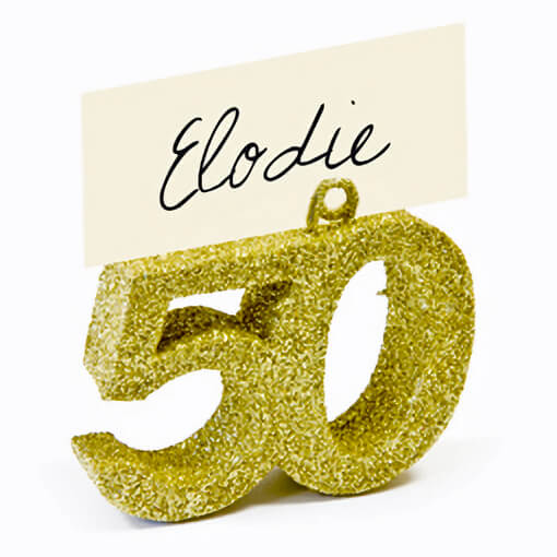 Marque place anniversaire or 50ans avec paillettes