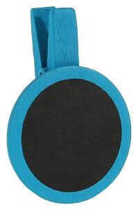 Ardoise ronde sur pince bleu turquoise (x4) REF/70318