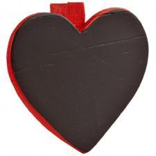 Ardoise coeur sur pince rouge (x6) REF/2937