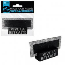 Marque-place ardoise argent pailleté retraite (x2) REF/MPP11