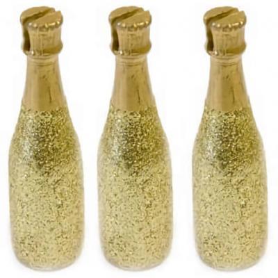 Porte-nom bouteille de champagne or (x3) REF/DEC852
