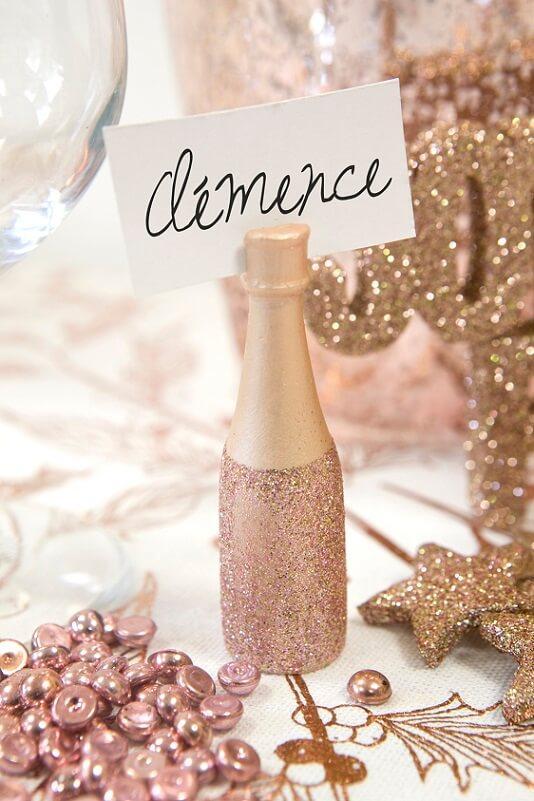 Marque place bouteille de champagne rose gold