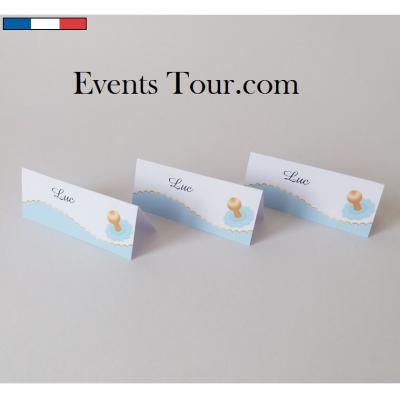 Marque-place chevalet Baptême bleu et tétine (x10) REF/10468