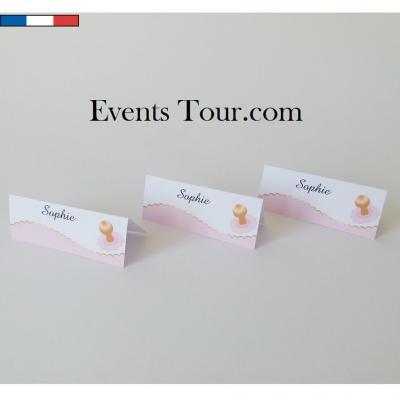 Marque-place chevalet Baptême rose et tétine (x10) REF/10467