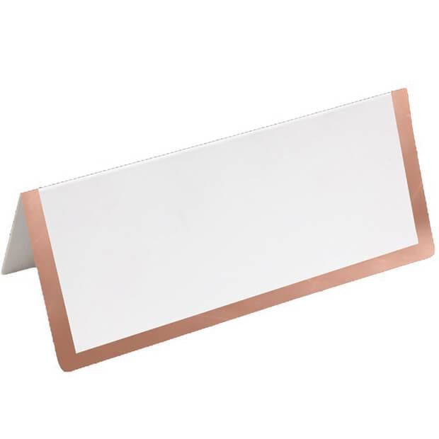 Marque place chevalet blanc et rose gold en carton