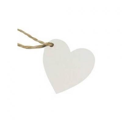 Marque-place coeur en bois blanc avec sa cordelette (x6) REF/DEK0503