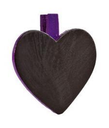 Ardoise coeur sur pince prune (x6) REF/2937