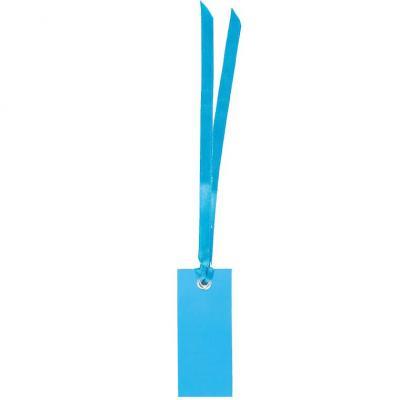 Étiquette rectangle bleu turquoise avec ruban (x12) REF/3312