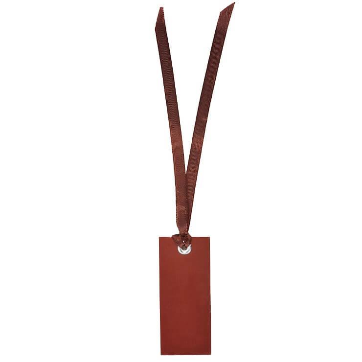 Marque place etiquette rectangle chocolat avec ruban