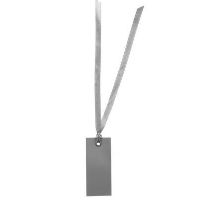 Étiquette rectangle grise avec ruban (x12) REF/3312