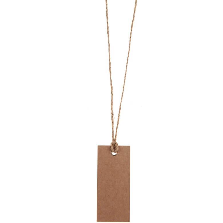 Marque place etiquette rectangle kraft naturel avec cordon