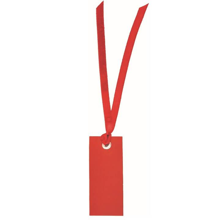 Marque place etiquette rectangle rouge avec ruban
