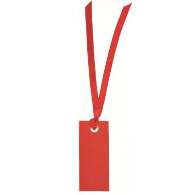 Étiquette rectangle rouge avec ruban (x12) REF/3312