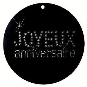 Marque-place joyeux anniversaire noir (x10) REF/4015