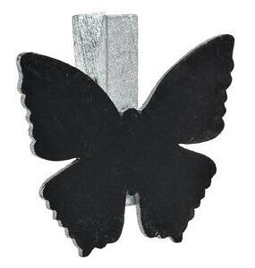 Marque-place papillon ardoise argent sur pince (x6) REF/3337