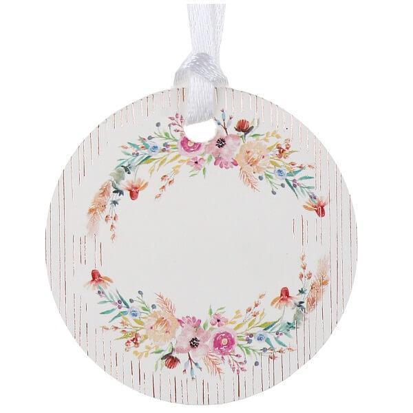Marque place rond avec ruban et decoration florale