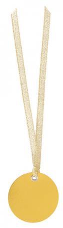 Étiquette ronde métallisée or avec ruban (x12) REF/4526