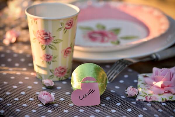 Marque place rose coeur