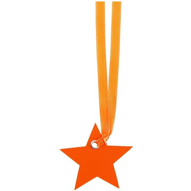 Marque place ruban etoile orange